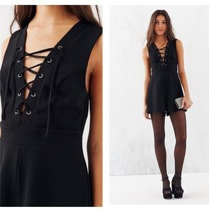 Silence + Noise Black Lace Up Front Crepe Romper